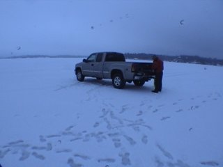 Truck parked on ice