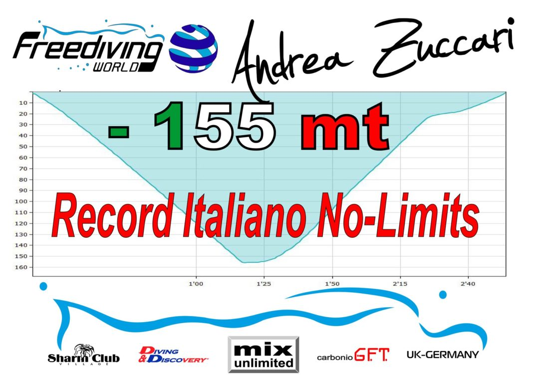 Andrea Zuccari reached -155 metres and breaks Italian National Record 2