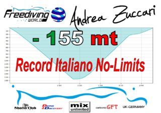 Andrea Zuccari reached  155 metres and breaks Italian National Record freediving competition records  news freediving Andrea Zuccari