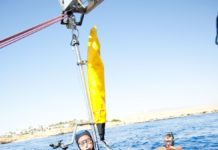 William Winram prepares to plunge to 145m