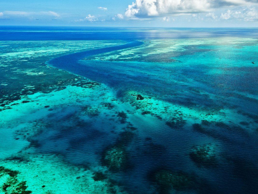 View of reefs flying over to Wakatobi