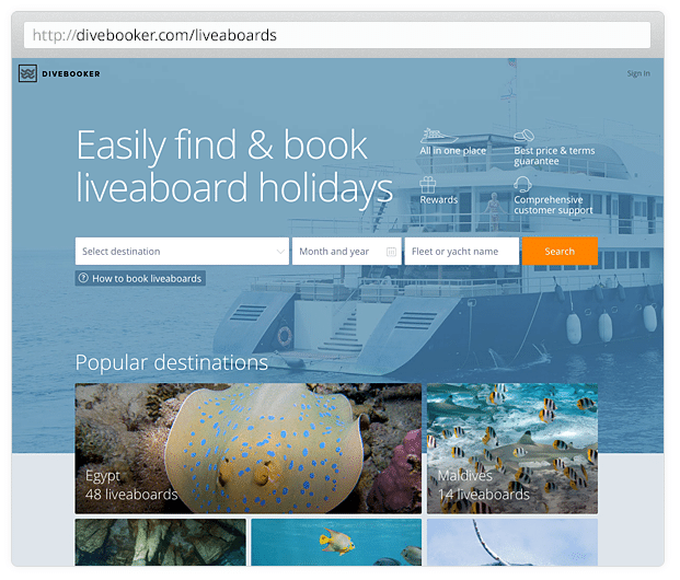 Divebooker.com Screenshot