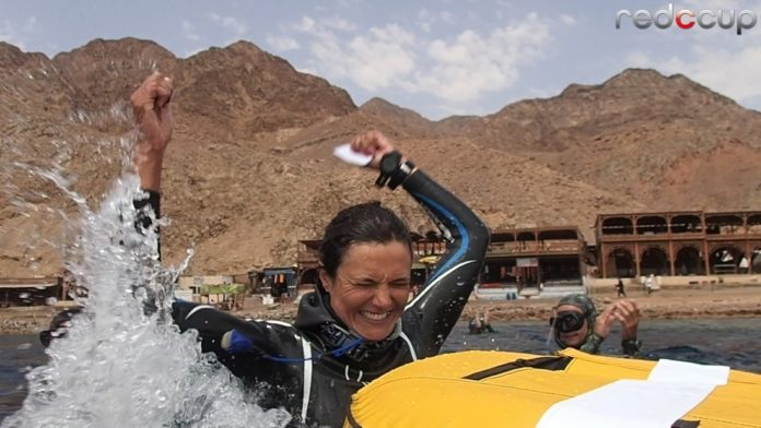 Happiness after succesful dive Ilaria Molinari Italian Record 51m CNF - Photo by Wendy Timmermans