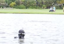 Glenn Berger Dives for Golf Balls (photo credit: Caters TV)