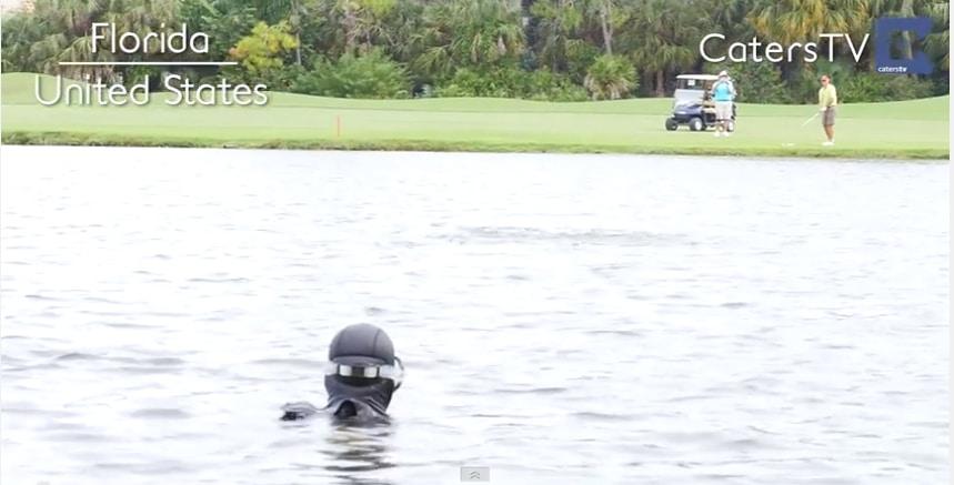 Glenn Berger Dives for Golf Balls (photo credit: Caters TV)