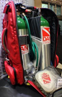 DAN's new dual cylinder Oxygen First Aid backpack