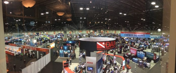 A panoramic view of the DEMA Show 2015 floor
