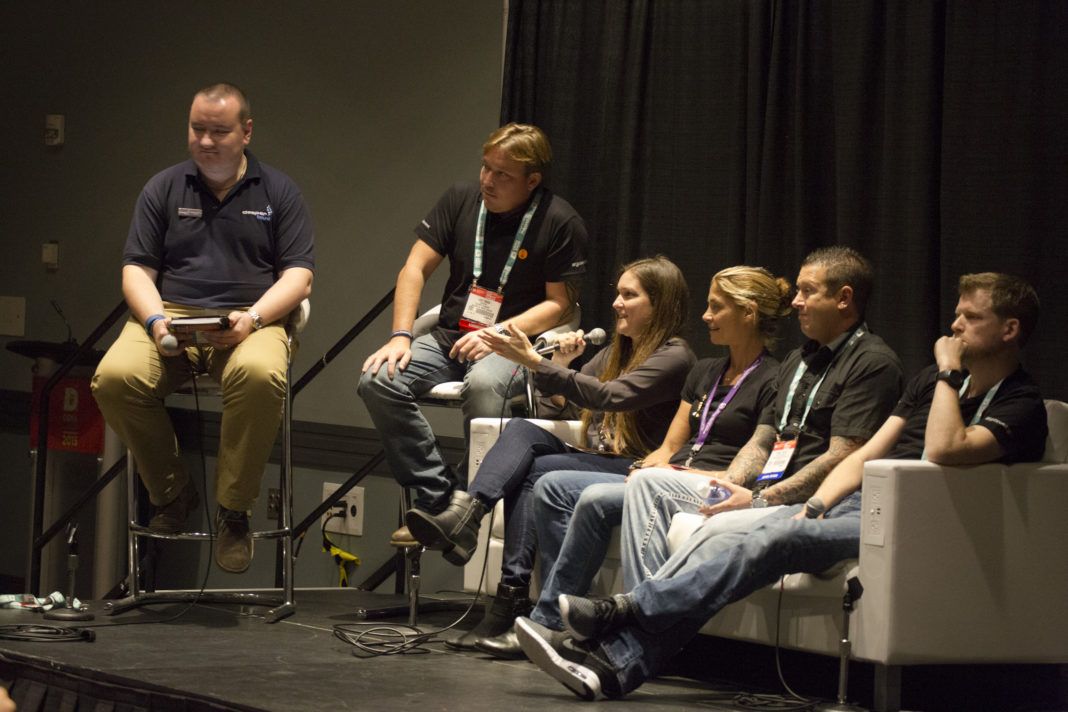One Of The Big Draws This Year Was The Young dive professionals panelists - Seen Here: Stephan Whelan, Luke Inman, Amanda Cotton, Cristina Zenato, Shane Taylor, and Jim Standing.