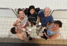 Post dive coffee time, (L - R) Lewis Jones NZ, Jaquelin Dent USA, Jessea LU CH, Leigh Woolley Aus & Frederic Maire Aus