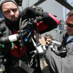 Deep diver Richie Kohler getting suited up to dive the Britannic. (Photo credit: richiekohler.com)