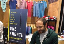 "Adam Skolnick gives the first public reading of his book ""One Breath"" at DEMA 2015"