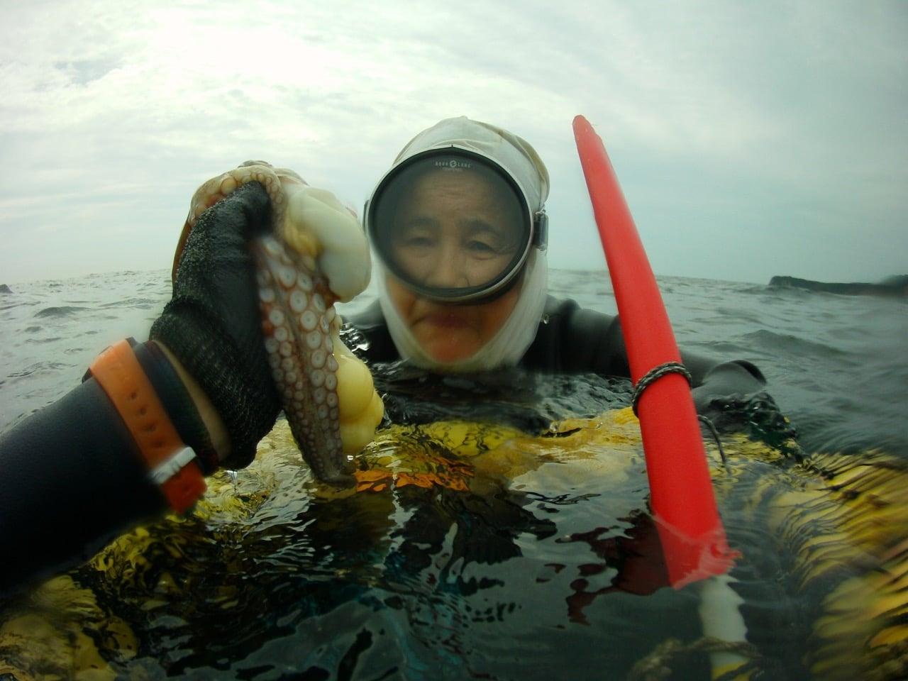 Sayuri shows me the tako (octopus) she caught.