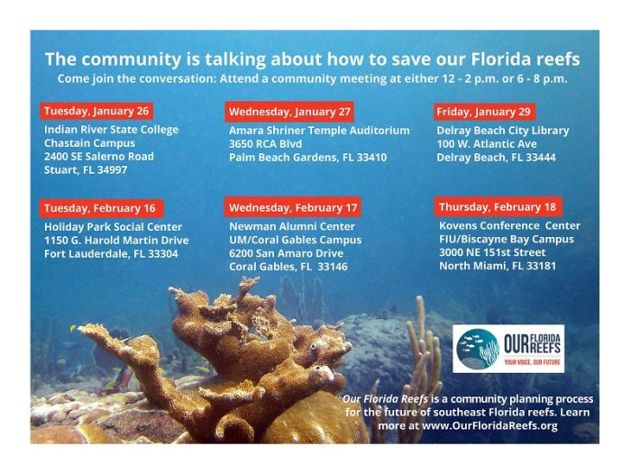 Our Florida Reef Community Meeting Schedule. Image courtesy OurFloridaReefs.org