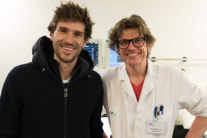 Guillaume Nery in Liege - Belgium with Professor Steven Laureys and The Coma Science Group - Photo by Guillaume Nery/Facebook