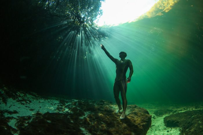 Alexey Molchanov in the Mexico Cenotes. Photo by Lia Barrett
