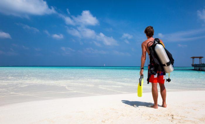 Scuba Diver on a beach