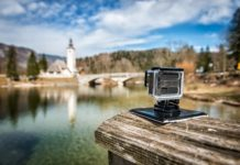small action camera filming slow motion outdoors