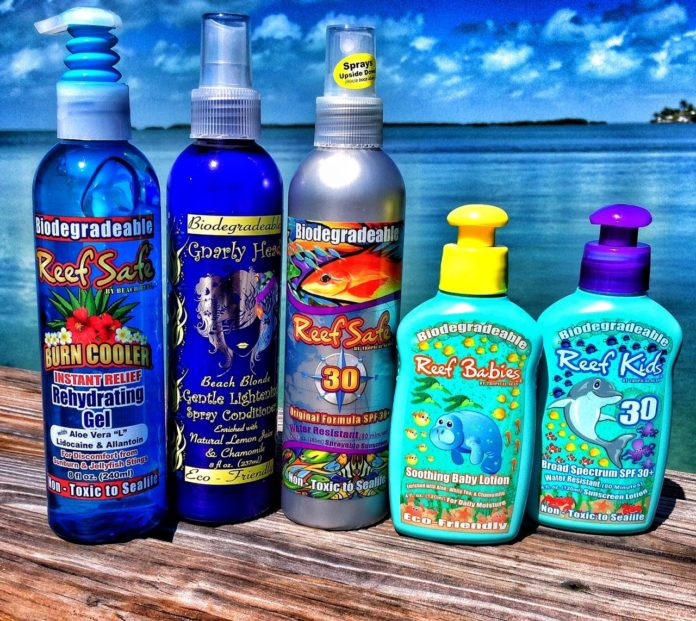 Tropical Seas' Reef Safe Suncare products will soon be available in bio-safe bottles.