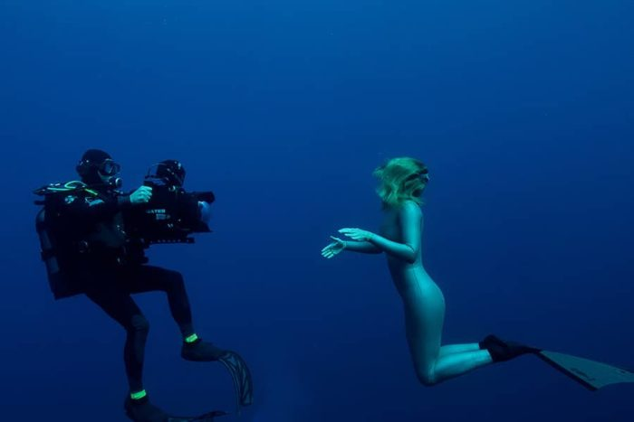 Tanya Streeter Filming for A Plastic Ocean film