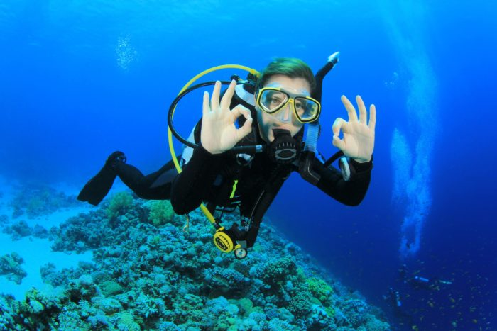 Female Scuba Diver Giving OK Sign