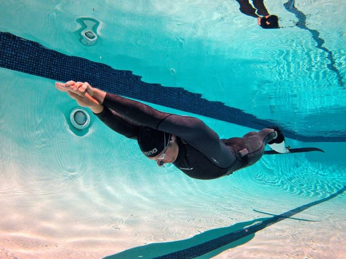Freediver in streamline form with monofin, capable of efficient cruising at 3 knots.