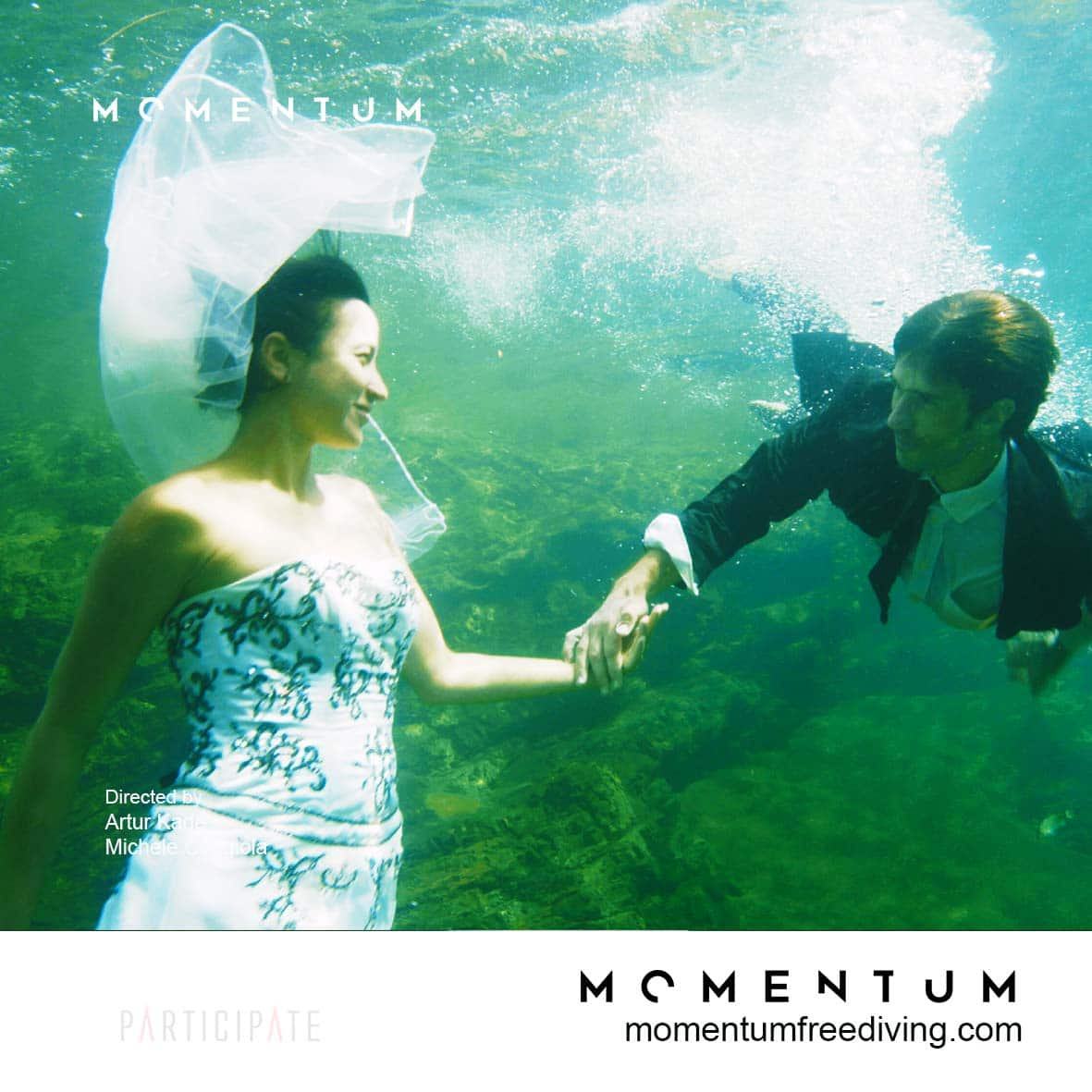 Guillaume Nery & Julie Gautier shooting a scene from Momentum Freediving Film.