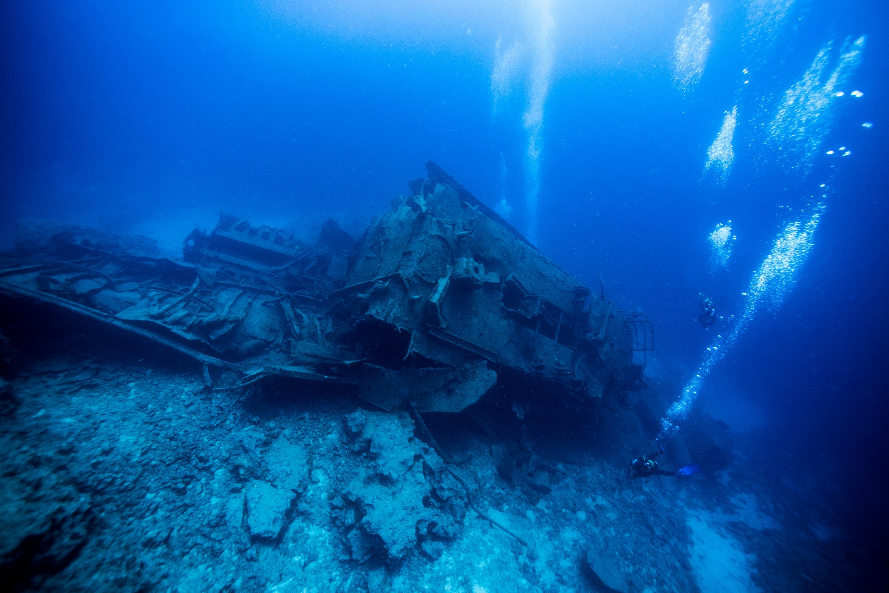 Divers On A Shipwreck