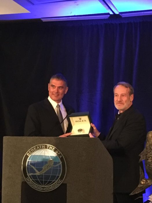 Kirk Krack - Founder of PFI - Receiving His DAN/Rolex Diver Of The Year Award