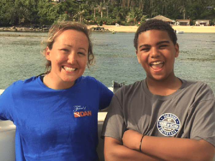 PADI Junior Master Diver T Cumming with his instructor, Bethy Driscoll