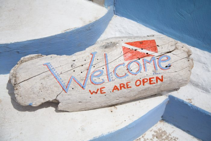 A Welcome sign outside a dive shop in the Caribbean.