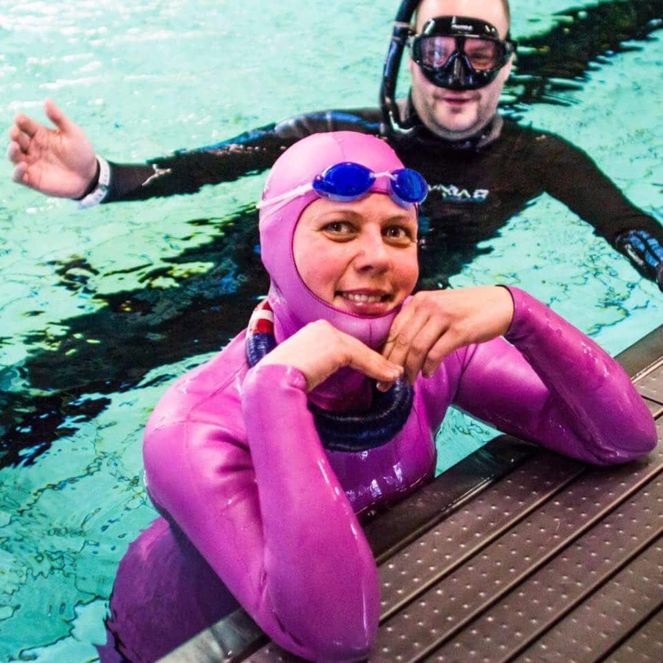 Freediving athlete Anette Rafen Ottzen is the new Nordic record holder in DYN.