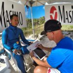 Aolin Wang of China checks in with Dr. Stig after a target depth performance to, have his oxygen levels assessed.