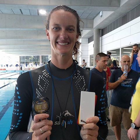 Jacqueline Dent Sets New US National Record in DNF. Photo by Freediving New Zealand