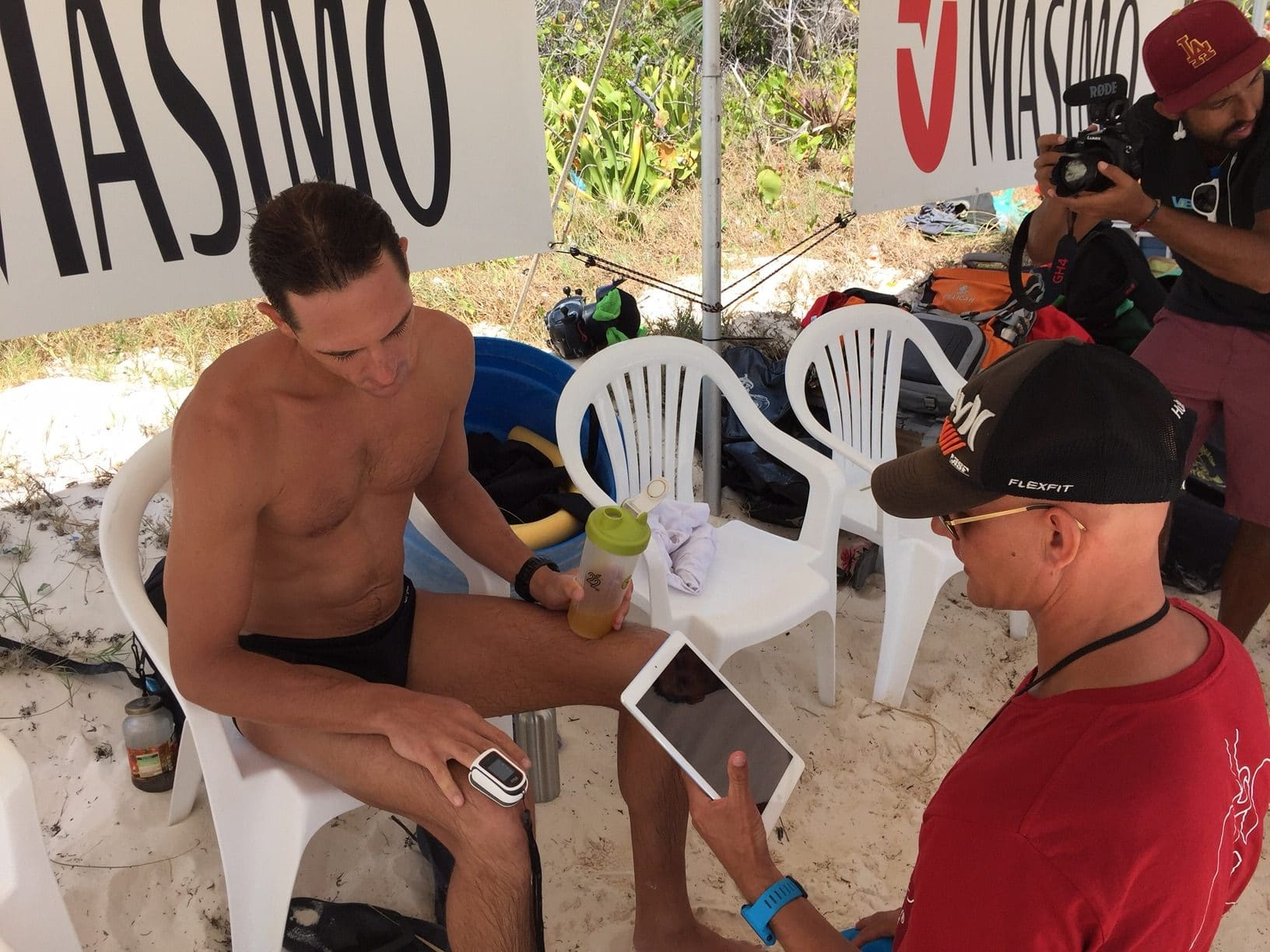 Kiwi and #VB2016 host William Trubridge has his stats taken before a dive.