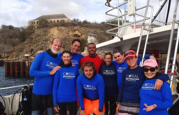 CRFC volunteers celebrate 1-year anniversary of planting corals off Curacao