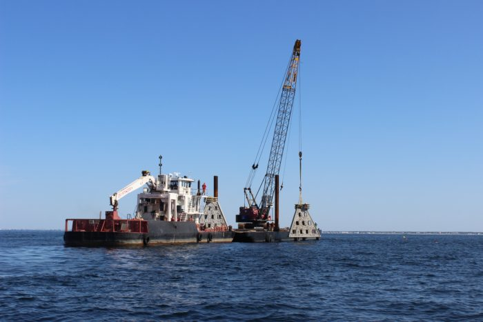 Deployment of Super Limestone Reef. Photo credit: Visit Panama City Beach