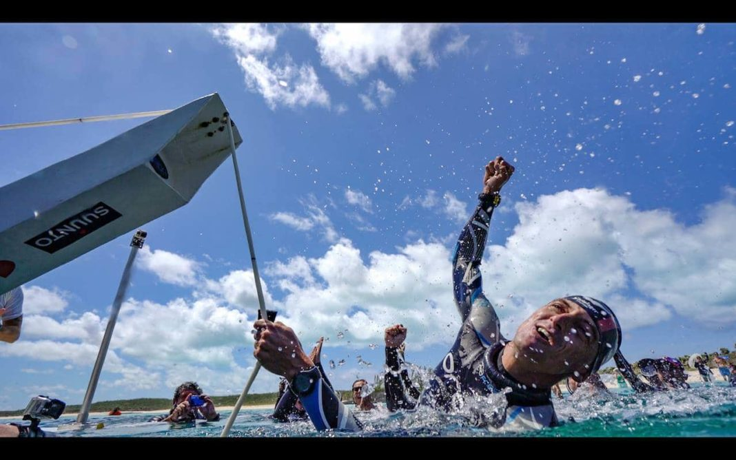 William Trubridge Celebrating After a New World Record (Photo by Daan Verhoeven)