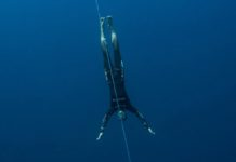 William Trubridge diving in Constant Weight No Fins (CNF) - Photo by Alex St Jean