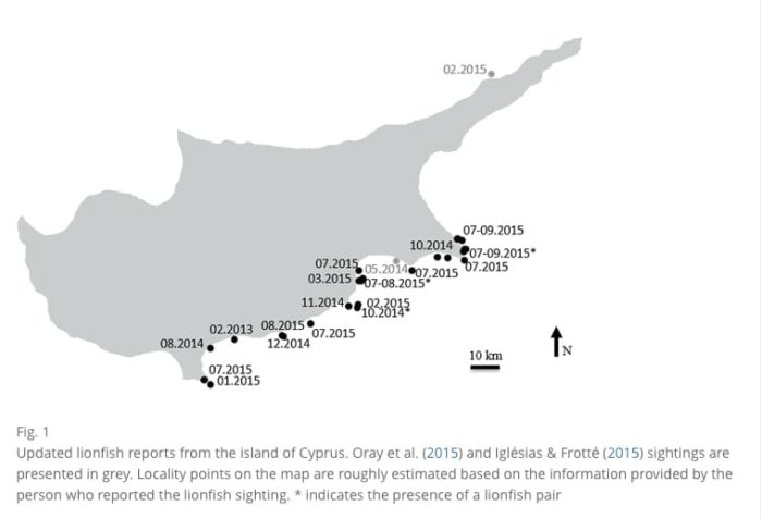 Map of Lionfish sightings off Cyprus. (Source: Marine Biodiversity Records)
