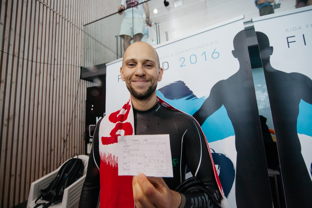 AIDA 2016 Freediving World Pool Championships – Mateusz Malina after his Dynamic No-Fins (DNF) 244m World Record