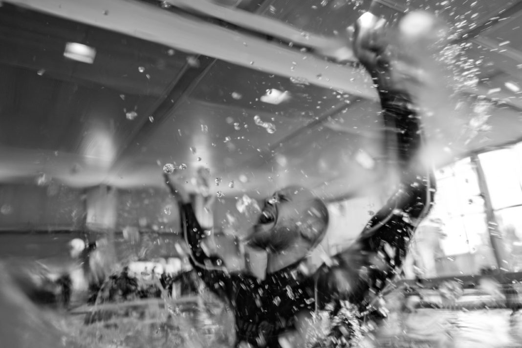 AIDA 2016 Freediving World Pool Championships – Mateusz Malina celebrating after resetting his Dynamic No-Fins (DNF) World Record to 244m