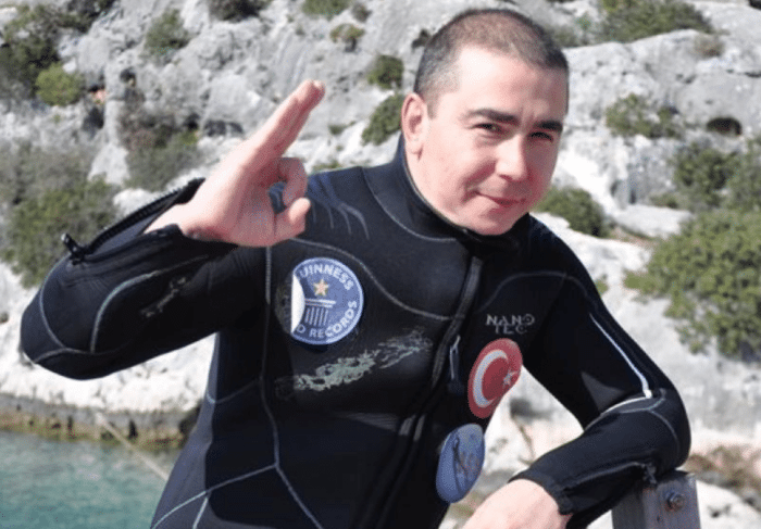 Turkish Diver Cem Karabay Sets Guinness World Record For Six-Day Dive (photo credit: DiverNet)