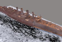 3D rendering of HMS Falmouth. (Photo credit: John Bedford, Historic England)
