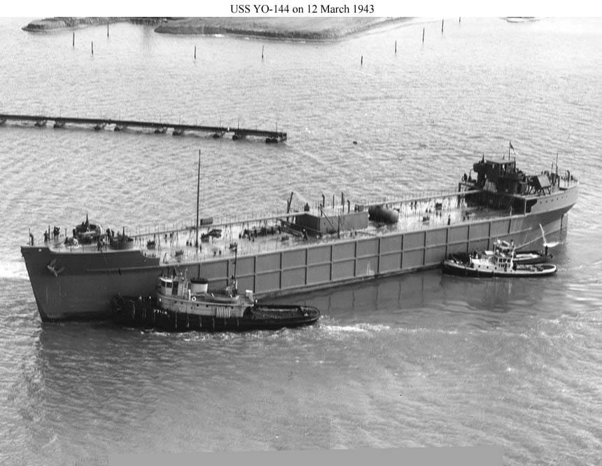 US Navy photograph of YO-144 a Concrete Barge