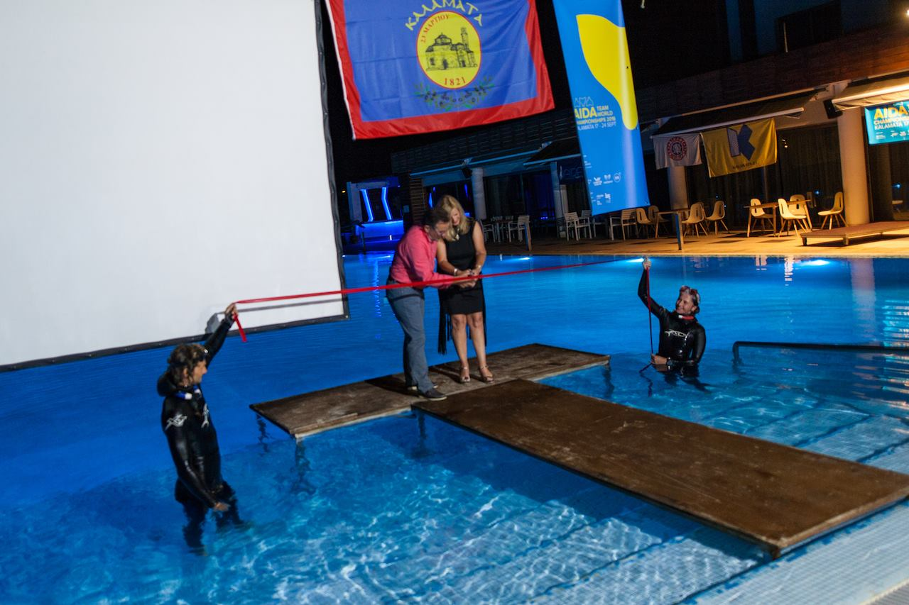 The Ribbon Cutting at the Opening Ceremony - AIDA Team Freediving World Championships 2016