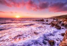 Beautiful sunset over California coast