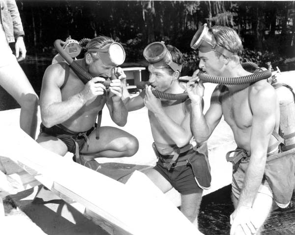 Actors learn scuba diving techniques. 1953. Black & white photonegative. State Archives of Florida, Florida Memory.