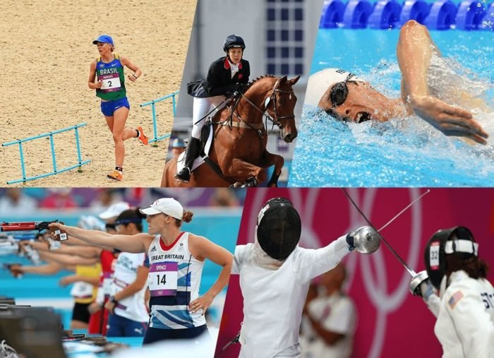 The modern pentathlon's continued place in the Olympics has been challenged. Here is a poster of the sport from Rio 2016's official website.