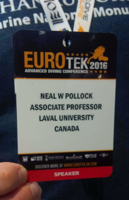 Dr Neal W Pollock, diving research, Hyperbaric and Diving Medicine, Laval University, Quebec, Canada, Rosemary E Lunn, Roz Lunn, EUROTEK, Kinesiology, School of Medicine
