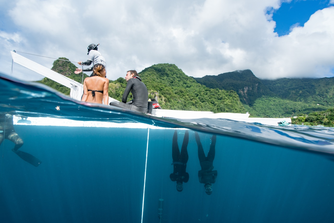 """Over-under easy!"" Dominica is a fun place to hang for freedivers! (photo © Daan Verhoeven)"